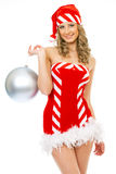 Sexy mrs. Santa smiling and posing Stock Images