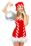 Sexy mrs. Santa smiling and posing. On white background isolated Royalty Free Stock Photos