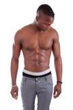 muscular african american man shirtless Royalty Free Stock Photo