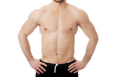 Sexy muscular male chest. Royalty Free Stock Photos