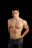 Sexy Muscular Man. Isolated on black Royalty Free Stock Photo