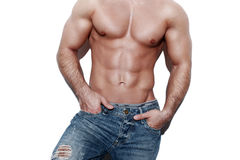 Sexy muscular man body Royalty Free Stock Image