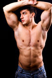 Sexy muscular man with fit body Royalty Free Stock Photography