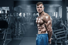 Sexy muscular man in gym, shaped abdominal, showing muscles. Bodybuilder male naked torso abs, working out.  Royalty Free Stock Image