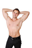 muscular man isolated on white Royalty Free Stock Images