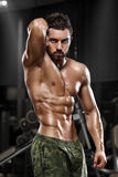 Muscular man posing in gym, shaped abdominal. Strong male naked torso abs, working out.  stock photo