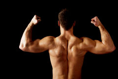 Sexy muscular man showing his muscular back. Royalty Free Stock Images