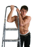 Sexy Muscular Man with a Stepladder Stock Images