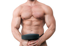 Muscular torso isolated on white. Shirtless muscular body isolated on white background. Bodybuilder torso stock photos