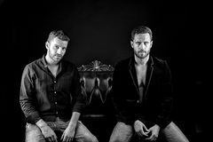 Sexy muscular young men. Two young handsome bearded muscular men sexy macho with beard on serious face in stylish jacket and shirt posing in studio sitting on Stock Photography
