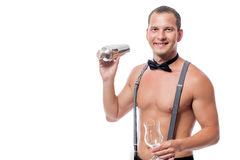 Sexy naked barman prepares a cocktail Stock Photo