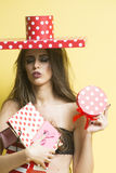 Sexy naked pretty woman with presents Royalty Free Stock Photos