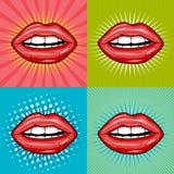 Sexy nasse rote Lippen mit gesetzten Hintergründen der Zahnpop-art Stockfoto