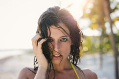 Sexy natural woman wet hair portrait Stock Photo