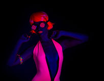 Sexy neon uv glow dancer Royalty Free Stock Photo