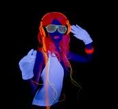 Sexy neon uv glow dancer Royalty Free Stock Image