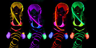 Sexy neon uv glow dancer Stock Photo