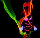 Sexy neon uv glow dancer Stock Photos