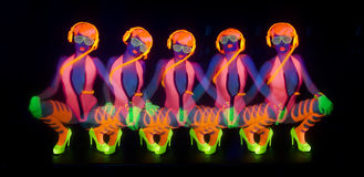 Sexy neon uv glow dancer Stock Photography