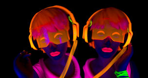 Sexy neon uv glow dancer Stock Photo