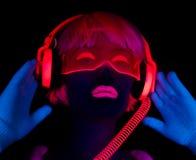 Sexy neon uv glow dancer Royalty Free Stock Photos