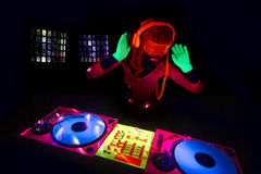 Sexy neon uv glow DJ Royalty Free Stock Image