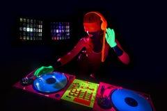 Sexy neon uv glow DJ Royalty Free Stock Photo