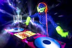 Sexy neon uv glow DJ Stock Photos