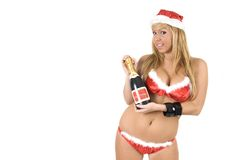 Sexy noel with champagne Stock Images