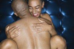 Sexy nude African-American couple. Royalty Free Stock Photo