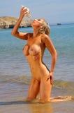 Sexy nude beach girl Royalty Free Stock Photography