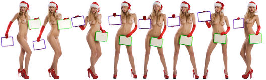 Sexy nude christmas girl holding a white board Royalty Free Stock Photography