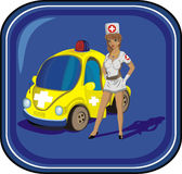 Sexy nurse and her madical car. Hot woman for any design will be useful Stock Images