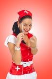 Sexy nurse holding syringe Stock Image