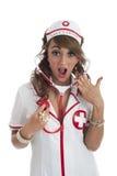 Sexy nurse looking shocked Stock Image