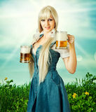 Sexy oktoberfest woman and beer Stock Images