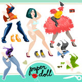 Sexy paper girl. Sexy girl paper doll set Stock Image