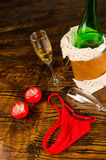 Sexy party with champagne still life Royalty Free Stock Image