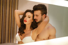 Sexy passionate couple posing at mirror Stock Image