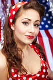 Sexy Patriotic American  Girl. Pin-up concept Royalty Free Stock Photos