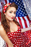 Sexy Patriotic American  Girl. Pin-up concept Stock Photography