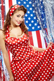 Sexy Patriotic American  Girl. Studio pinup style shoot Royalty Free Stock Photos
