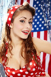 Sexy Patriotic American  Girl. Studio pinup style shoot Royalty Free Stock Images
