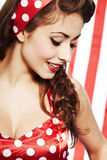 Sexy Patriotic American  Girl. Studio pinup style shoot Stock Photo
