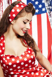 Sexy Patriotic American  Girl. Studio pinup style shoot Royalty Free Stock Photography