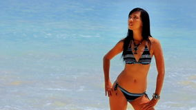 Sexy perfect body at beach stock footage
