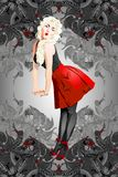 An attractive pin-up girl with blond hair stock illustration