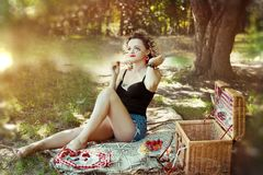 Sexy pin up girl with blonde curve hair in short summer cloth on picnic royalty free stock photos