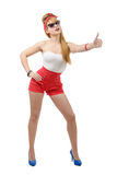 Sexy pin up  girl hitchhiking Stock Images
