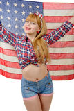 Sexy pin up girl isolated holding an American Flag Royalty Free Stock Photos